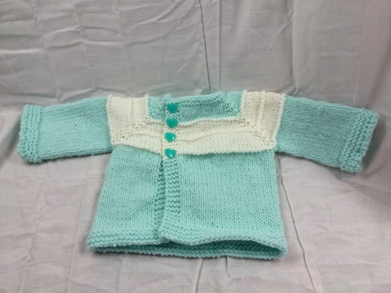 Soft Minty Green and White Raglan Sweater for Newborn