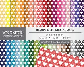 Heart Polka Dot Mega Pack Seamless Digital Paper Pack, Digital Scrapbooking, Instant Download