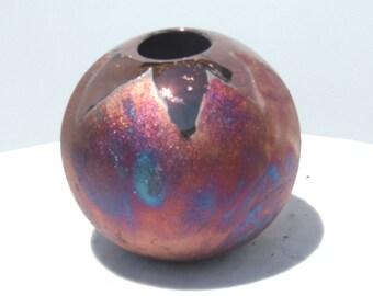 Raku ball vase - sun pattern