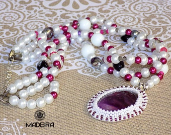Necklace with medallion, amethyst locket necklace of pearls, pearl, purple