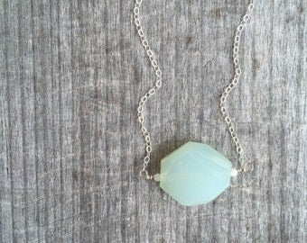 Silver Peruvian Chalcedony Necklace - Chalcedony Necklace - Green Necklace - Minimalist Necklace - Bridesmaid Necklace - Layering necklace