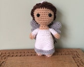 Christmas Angel Amigurumi Figure Doll with Silver Wings and Halo