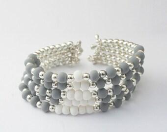 Grey and White Triangle Cuff Bracelet, Multi Strand Beaded Bracelet, Tribal Cuff, Modern Bohemian Jewelry