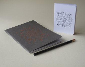 writers gift  set - 1 Notebook  & white mini notebook - free gift pencil -  handmade notebook - gift set