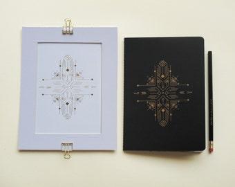 Boho  chic  Gold foil letterpressed  Set :  NOTEBOOK +  POSTER