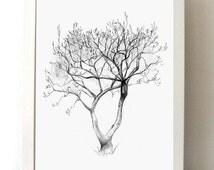 Magnolia Tree Pencil drawing - Tree art - Giclee print - A4 or 8 x 10 - Decor - Tree Print - Tree sketch  - Nature Art - Zen illustration