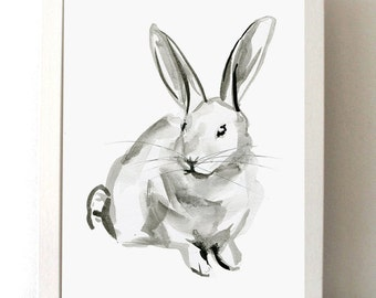 Rabbit Watercolor painting - Rabbit drawing - Fine Art Print - Rabbit art  - Animal Painting - Zen Drawing - Animal Zodiac Rabbit