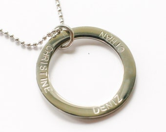 Personalised Large Pendant Ring Washer Circle Silver Mum Family Necklace Jewellery