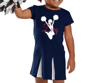 2T Personalized Cheerleader Toddler Dress Navy Blue Cheerleading Cheer Outfit Costume Fan customized Size 2T Cheer Toddler Halloween Costume