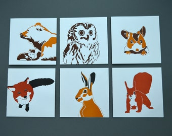Woodland Animals - Card pack - Blank cards - Letterpress Cards - Card Set - Woodland Animal Prints - Greetings cards - Letterpress Card Pack