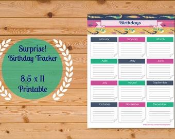 Birthday Tracker, Birthday List, Birthdays Months, Planner Printable