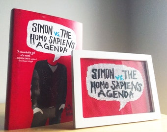 Simon Vs The Homo Sapiens Agenda inspired completed cross stitch