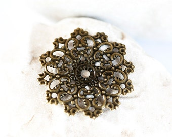 1741_Metal flower connector 4,7х4,7cm, Jewelry component, Metal findings, Bronze component findings, Jewelry connector,Bronze filigree_30pcs