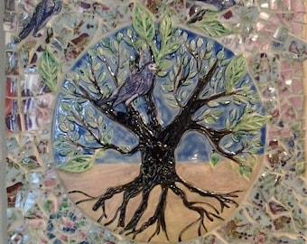 Custom Mosaic Tree of Life with Bluebirds