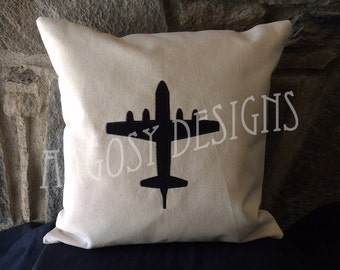 "Handmade P-3 Orion Silhouette 16""x16"" Pillow Cover US Navy Anti-Submarine Pilot NFO Christmas Gift"