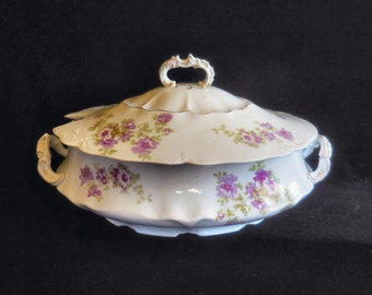 Gutherz Porcelain Covered Tureen OSG94 pattern purple flowers