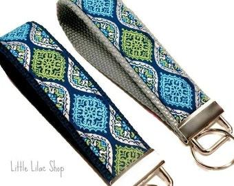 Key Fob, Key Chain, Key Fob Wristlet, Fabric Key Fob, Fabric Keychain, Blue Keychain, Key Holder, Key Chain, Key Chain Wristlet