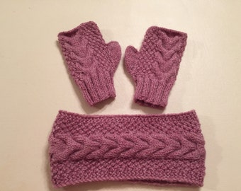 Hand knitted cable knit Earband, headband and fingerless gloves,pink