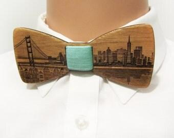 Wooden Bow Tie - SAN FRANCISCO Skyline - Mahogany Wood - Self Tie Bow Tie For Men Formal Wear