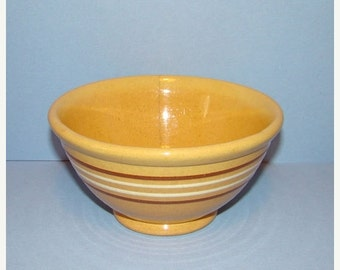 ON SALE Old Rust White Banded Yellow Ware Yelloware Bowl HTF 6 Inch As Is Country Kitchen Rustic Farmhouse