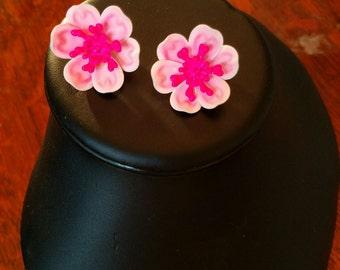 Vintage vibrant pink enameled dogwood blossom clip-on earrings