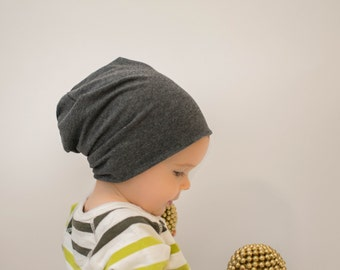 Charcoal gray organic baby slouchy beanie, Organic baby hat, toddler Slouchie Beanie, Gift for boy