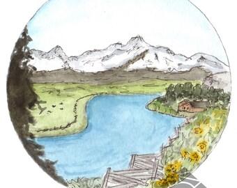 5x7 Lower Stanley Idaho River Sawtooth Mountains Watercolor Art Print,  Circle Art, Rustic Art, Cabin Chic Art, Rustic Chic Art