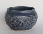 Matte Blue Ceramic Bowl or Planter