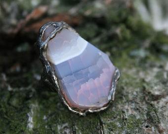 statement ring, agate ring, rose agate ring, adjustable ring, gemstone ring, raw ring, ring for her, gift ring, tiffany method
