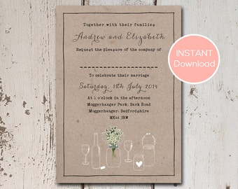 Rustic wedding invitation with hand drawn mason jars, flowers and frame on a kraft background.