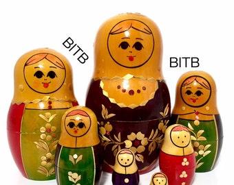 Vintage Nesting Doll. USSR Kirov/ Vyatka, Russia Nesting Doll. Straw Inlay Floral Nesting Dolls. Matryoshka Dolls, Russian Dolls.