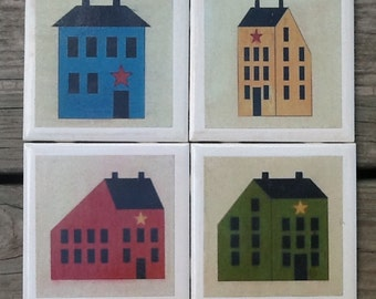Set of 4 Ceramic Tile Coasters/Primitive/Country/Saltbox House