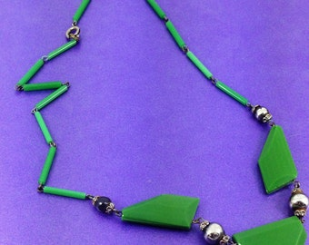 Vintage Lucite Necklace, Emerald Green Necklace, Art Deco Necklace,