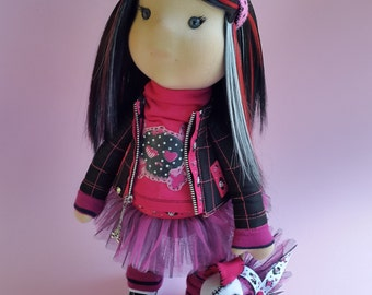Cloth doll, Art doll, Interior doll, Handmade, Gift, Rag doll, emo, emo doll