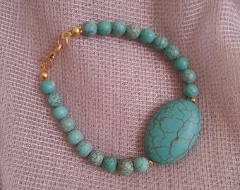Turquoise blue stone beads ..Misty blue bracelet