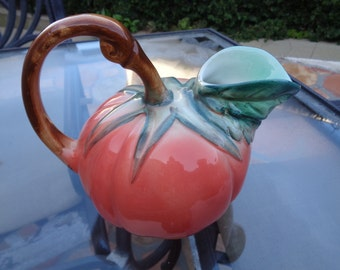 TOMATO Shaped Red & Green CERAMIC PITCHER Made In Italy Vintage