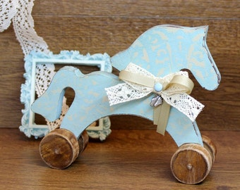 Wooden horse toy, nursery, for kid, accessory for photo shoots, turquoise