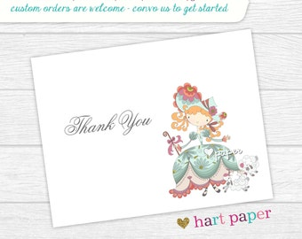 Little Bo Peep Nursery Rhyme | Printed Thank You Cards Folded Flat Notecard Stationery | Birthday Baby Shower Bridal Wedding | Gift Unique