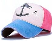 Distressed Ball Cap, Women's baseball cap, Nautical Hat, Womens Trucker Hat, Western Hat, Baseball hat, Change the Tide Anchor Hat ANC004