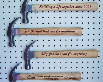 Personalized Hammer ~  Add a Special Message Engraved on the Back ~ up to 50 Words ~ Dad Gift Father Gift