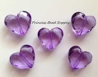 Purple Faceted Transparent Heart Chunky Beads,  Purple Heart Bubble Gum Beads, Valentine's Day Beads, Gumball Beads, Acrylic Beads