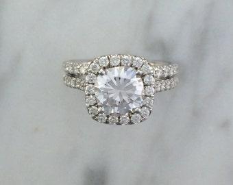 2 Two Ring Bridal Engagement Set in 14K White Gold w/ Diamonds - Cushion Halo Diamond Engagement Ring Set w/ Wedding Bands