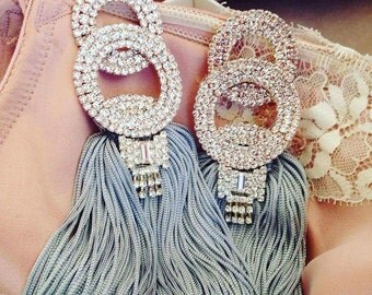 Grey earrings made of silk and strass