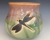 Pottery Dragonfly Vase, Ceramic Stoneware Vase, Small Flower Vase, Gift for Mom.