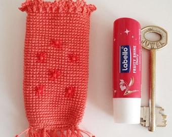 Crochet Drawstring Lip Balm Holder, coral peach with beads embroidery, crochet pregnancy accessory, key holder, mini purse, chap stick caddy