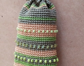 Drawstring locket for Keys, Lip Balm Holder, woodland hues, beads embroidery, pregnancy accessory, mini purse, neck pendant for kids, locket
