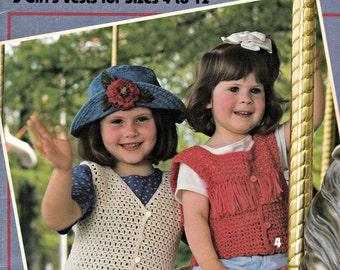 """Crochet Vest Patterns Leisure Arts """"Vest Time"""" Patterns, Vintage Crochet Patterns, Crochet Designs, Crochet Ideas, Girls Vest Tops"""