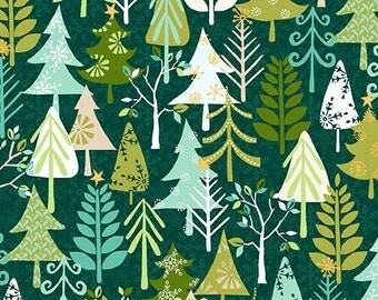 Andover - Christmas Retro Trees - Hendley Studios - T12301 - Christmas Retro Trees - Winter -  Trees - Green - Novelty - One More Yard