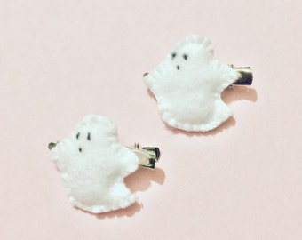 Spooky, cute, Kawaii, Felt, halloween, Ghosts, hair Clips (2 set)