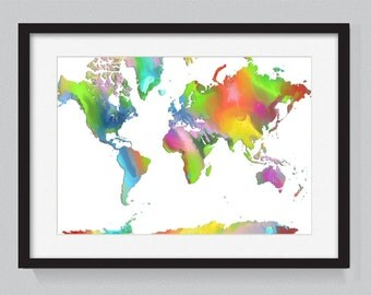 Map of the world designed from watercolors - World Map Series